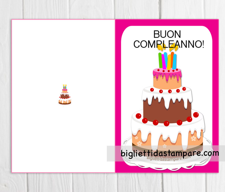 biglietto ragazza torta compleanno